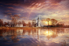 Church on river bank Stock Photography