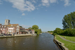 Church beside River Frome in Wareham Stock Photo