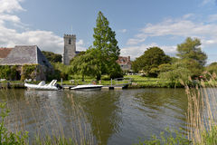Church beside River Frome in Wareham Stock Image