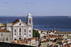 Church and river in Lisbon Royalty Free Stock Images