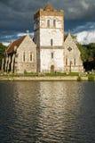 Church on River Thames, England stock photos
