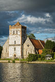 Church on River Thames, England stock images