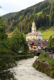 Church and river in village Sexten in South Tyrol Stock Photo