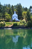Church in Roche Harbor, Washington. Church on shore at Roche Harbor, Washington Royalty Free Stock Images