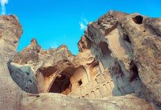 Church in rock  in Cappadocia. Ruins of Ancient Christian churches cut in rock, Goreme region / Turkey Stock Photography