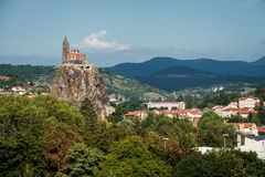 Church at the rock. Saint Michel d Aiguilhe in Le Puy en Velay. France. Saint Michel d Aiguilhe. Le Puy en Velay. Haute-Loire. France. 12th century Royalty Free Stock Photos
