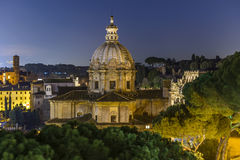 Church in the Roman Forum at Dusk Royalty Free Stock Images