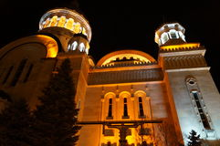 Church in Romania Cluj Napoca. Romanian Church in Night light Stock Photo