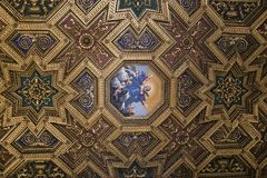Church, Rome, decorated ceiling in gilded wood and painted Maria Stock Photo