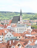 Church and roofs in Cesky Krumlov Royalty Free Stock Photography