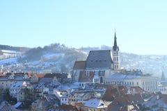 Church and roofs in Cesky Krumlov Stock Photos