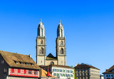 Church and roofs of houses in Zurich Stock Photography