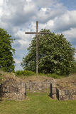 Church ruin cross Royalty Free Stock Images