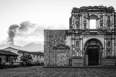 Church Ruin and El Fuego Volcano in Black and White royalty free stock images