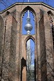 Church ruin and television tower. In berlin Stock Photo