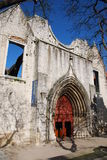 Church ruins. Famous Carmo Church ruins after the earthquake in 1755 in Lisbon, Portugal stock photography