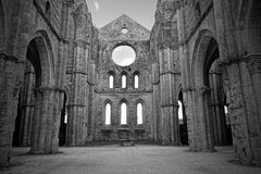 Church ruins. And altar: ancient Abbey of San Galgano Monastery in Tuscany royalty free stock images