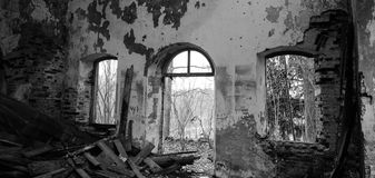 Church in ruins. Black and white royalty free stock photos