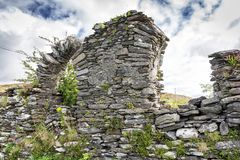 Church Ruins and Broken Arch in County Cork. Old church ruin and broken arch near Hungry Hill on the Beara Peninsula in West Cork stock photography