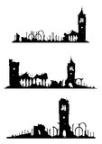 Church ruins. The ruins of churches. Objects in one color with a white background .Vector without gradients Royalty Free Stock Photos
