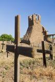 Church Ruins and Graveyard. Ruins of Old San Geronimo Church and graveyard, Taos Pueblo Royalty Free Stock Photos
