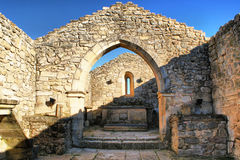 Church ruins in historical village of Castelo Mendo royalty free stock photography