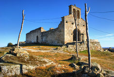 Church ruins in historical village of Castelo Mendo royalty free stock photos