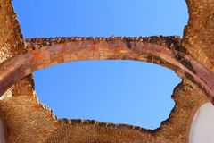 Church in ruins II. Arch as part of an ancient church in ruins, zacatecas city, mexico stock images