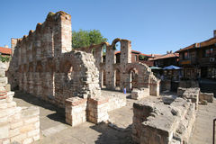Church ruins in Nessebar stock image