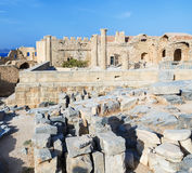 Church ruins of Saint John on the Acropolis  Lindos, Rhodes Island, Greece Stock Images