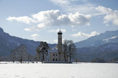Church in rural Bavaria, Southern Germany, winter. Royalty Free Stock Photography