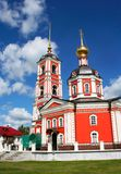 Church in Russia red against the blue sky Royalty Free Stock Photography