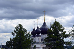 The Church of Russia, of white stone , Orthodox Christianity Royalty Free Stock Images