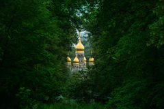 Church. Russian church in the forest stock image