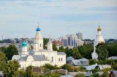 Church russian orthodox monastery. In residential area Royalty Free Stock Photos