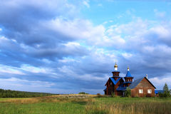 Church in the russian village. Orthodox church in the village near St. Petersburg, Russia Stock Photo