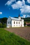 Church in Súľov Hradná, Bytča, Slovakia. Súľov-Hradná is a village and municipality in Bytča District in the Žilina Region of northern Slovakia Royalty Free Stock Images