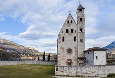 Church S.Apollinare, Trento, Trentino Alto Adige, Italy. Romanesque in origin, this small church on the right bank of the Adige has a curious sloping roof that royalty free stock images
