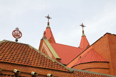Church's red tile roofs in Minsk, Belarus Stock Image