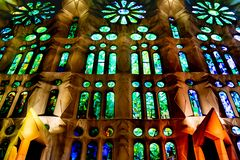 Church of the Sacred Family Interior View. Interior view of famous church sacred family located in barcelona city, Spain stock photo