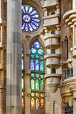 Church of the Sacred Family Interior View. Interior columns and windows view at famous sacred family church located in barcelona city, Spain stock photos