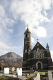 Church of the Sacred Heart, Dunlewey and Errigal mountains Royalty Free Stock Images