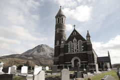 Church of the Sacred Heart, Dunlewey with Errigal mountains Royalty Free Stock Photography
