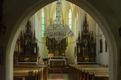 Church of the sacred heart of Jesus. Acquired Thursday 1. September 2016 Horni Maxov Czech Republic interior view from the entrance Stock Photo