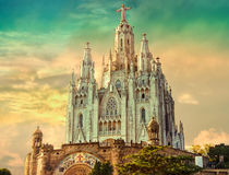Church of the Sacred Heart of Jesus,located on the summit of Mount Tibidabo in Barcelona, Catalonia, Spain Royalty Free Stock Image