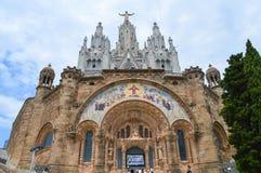 Church Sacred Heart of Jesus in Tibidabo, Barcelona, Spain on June 22, 2016. Royalty Free Stock Image