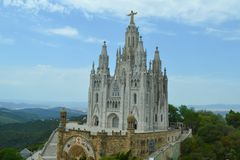 Church Sacred Heart of Jesus in Tibidabo, Barcelona, Spain on June 22, 2016. Royalty Free Stock Photography