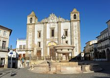 Church of Saint Anthony Abbot in Evora, Alentejo, Portugal. Detail of the typical architecture of Evora, Portuguese world heritage city by Unesco, rich in Royalty Free Stock Image