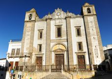 Church of Saint Anthony Abbot in Evora, Alentejo, Portugal. Detail of the typical architecture of Evora, Portuguese world heritage city by Unesco, rich in Royalty Free Stock Photos