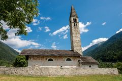 Church of Saint Anthony the Abbot - Pelugo Italy. Ancient church of Sant`Antonio Abate Saint Anthony the Abbot - XV century in Pelugo, Rendena valley, Trento Stock Photo